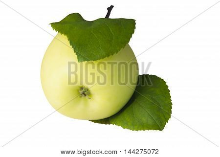 Ripe apple yellow color, two leaves green, close-up, isolation, white background