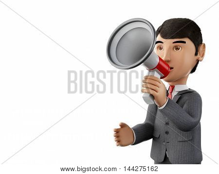 3d renderer image. Businessman with a megaphone. Business concept. Isolated white background.