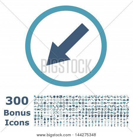 Down-Left Rounded Arrow icon with 300 bonus icons. Vector illustration style is flat iconic bicolor symbols, cyan and blue colors, white background.