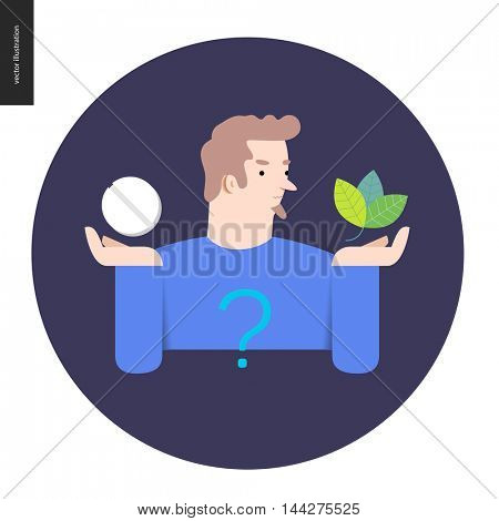 Choosing between an antibiotic pill and natural herbal treatment. Flat vector cartoon illustration of a man holding a tablet in one hand and plant leaves in another, with a question sign above.