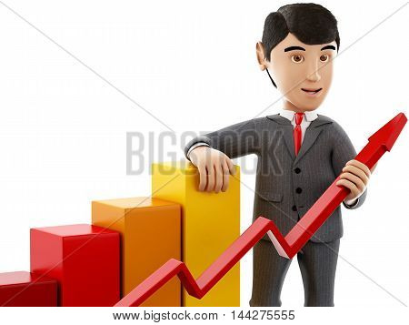 3d Illustration. Businessman with a growth graph. Business and success concept. Isolated white background.