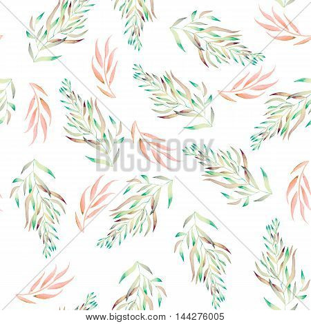 A seamless floral pattern with the green, brown and pink watercolor plants, seaweeds on a white background