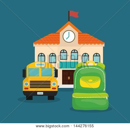 bag building bus back to shool education  icon set. Colorful and flat design. Vector illustration