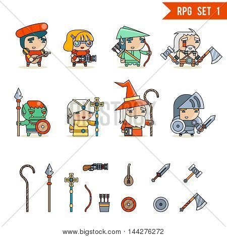 RPG Game Fantasy and Character Vector Icons Set Vector Illustration