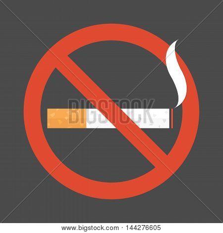 Non smoking area sign symbol, flat design