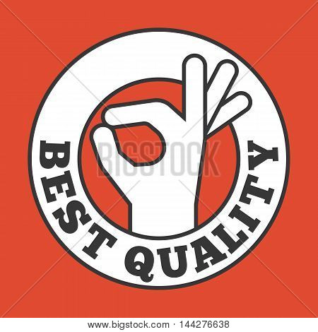 Okay hand sign in circle badge, best quality typography in circle frame badge for advertising, Guarantee symbol, flat design on red background