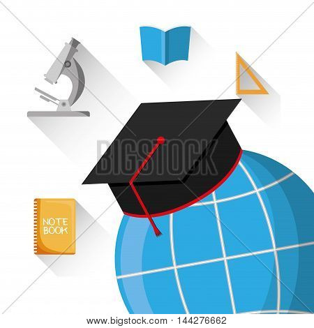 graduation cap global microscope book back to shool education  icon set. Colorful and flat design. Vector illustration