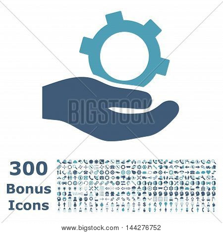 Engineering Service icon with 300 bonus icons. Vector illustration style is flat iconic bicolor symbols, cyan and blue colors, white background.