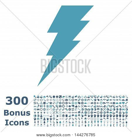 Execute icon with 300 bonus icons. Vector illustration style is flat iconic bicolor symbols, cyan and blue colors, white background.