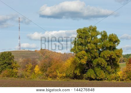 Autumn Yellow Trees Foothills. Telephone Relay Tower