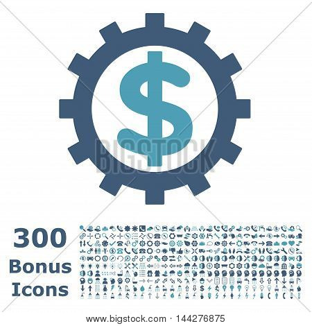 Financial Industry icon with 300 bonus icons. Vector illustration style is flat iconic bicolor symbols, cyan and blue colors, white background.