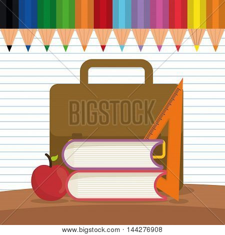 suitcase apple ruler back to shool education icon set. Colorful and flat design. Vector illustration