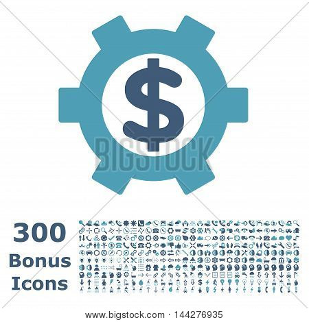Financial Settings icon with 300 bonus icons. Vector illustration style is flat iconic bicolor symbols, cyan and blue colors, white background.
