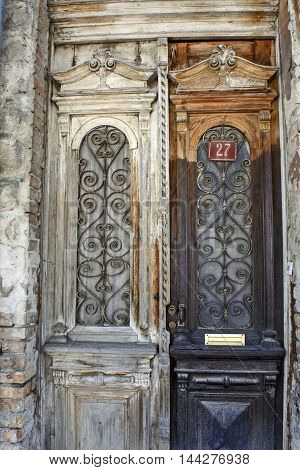 The old front door to the house in the town.