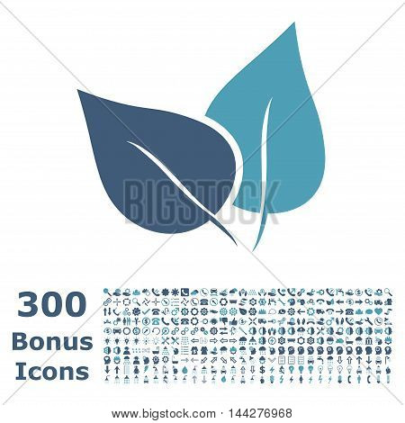 Flora Plant icon with 300 bonus icons. Vector illustration style is flat iconic bicolor symbols, cyan and blue colors, white background.