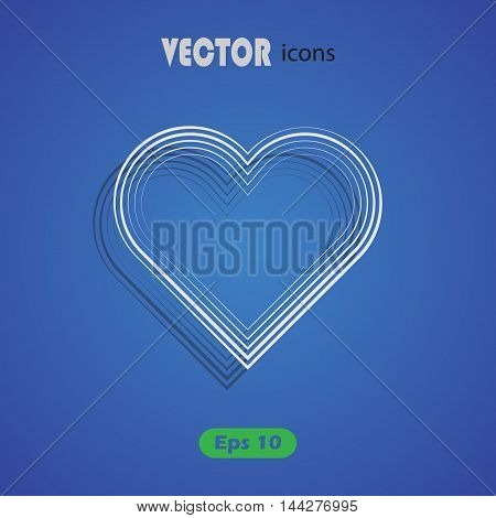 Heart on blue background - Valentine's Day vector icon for web and mobile