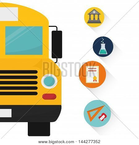 bus yellow back to shool education icon set. Colorful and flat design. Vector illustration