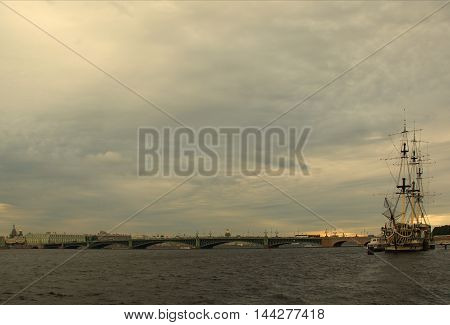 Summer day in St. Petersburg on the Neva River