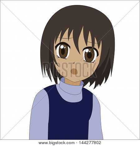 Cute cartoon anime little girl. Vector illustration