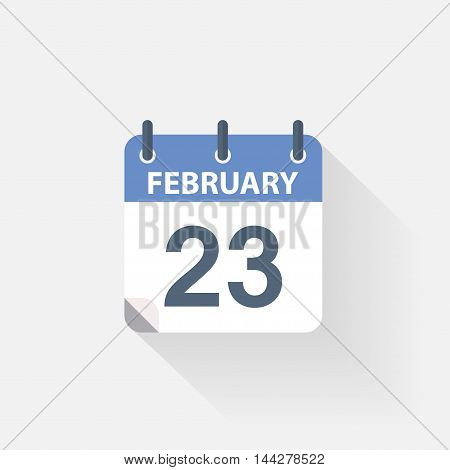 23 february calendar icon on grey background