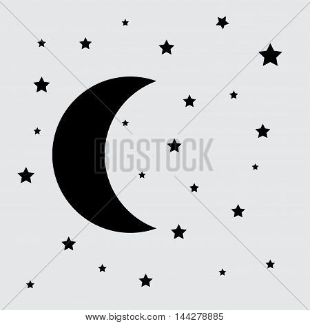 Moon and stars vector sketch icon isolated on background. Hand drawn Moon and stars icon.