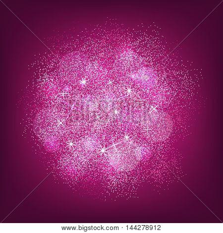 Pink glitter splash on violet background. Vector illustration.