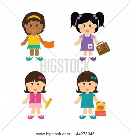 girls bag suitcase pencil book back to shool education icon set. Colorful and flat design. Vector illustration