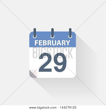 29 february calendar icon on grey background
