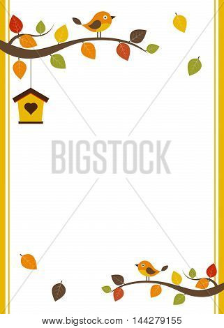 Fall invitation card template with white space for the text