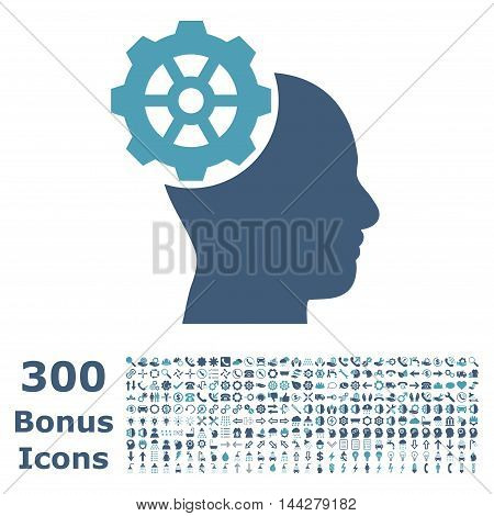 Head Gear icon with 300 bonus icons. Vector illustration style is flat iconic bicolor symbols, cyan and blue colors, white background.