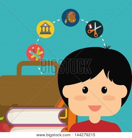 boy suitcase books ruler apple colors building paint scissors back to shool education icon set. Colorful and flat design. Vector illustration