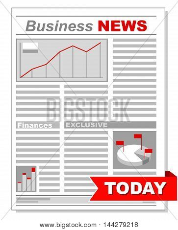 A vector illustration of Fresh business newspaper with different diagrams