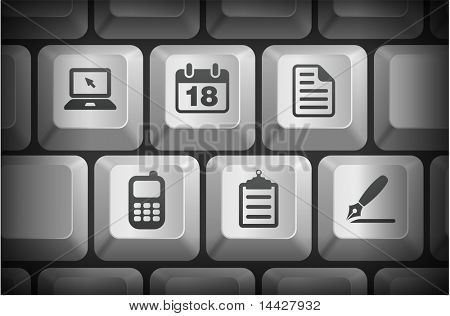 Equipment Icons on Computer Keyboard Buttons Original Illustration