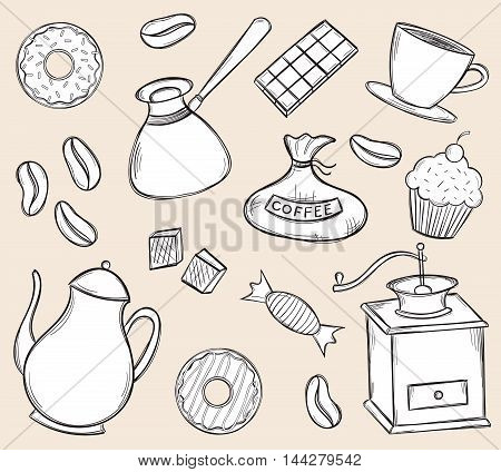 Vector hand drawn black and white coffee time set