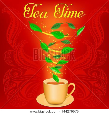 Cup of tea on the green background. Tea time. Spiral of tea leaves in a mug. Vector illustration