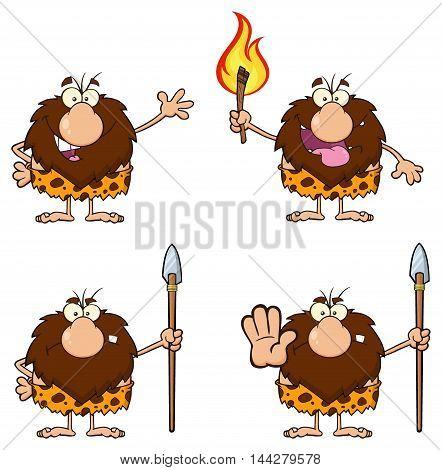 Funny Male Caveman Cartoon Mascot Character. Collection Set
