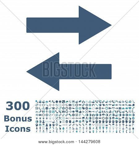Horizontal Flip Arrows icon with 300 bonus icons. Vector illustration style is flat iconic bicolor symbols, cyan and blue colors, white background.
