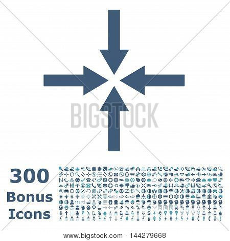Impact Arrows icon with 300 bonus icons. Vector illustration style is flat iconic bicolor symbols, cyan and blue colors, white background.