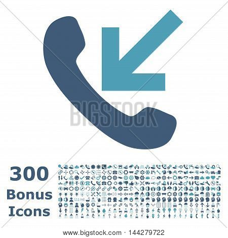Incoming Call icon with 300 bonus icons. Vector illustration style is flat iconic bicolor symbols, cyan and blue colors, white background.