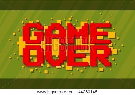 A vector illustration of Pixel computer game over screen on green background