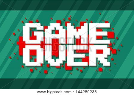 A vector illustration of Pixel computer game over screen on red background