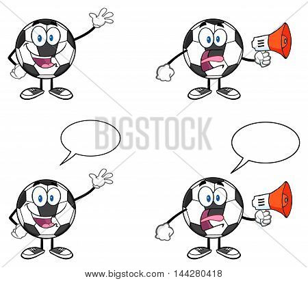 Soccer Ball Cartoon Mascot Character 3. Collection Set Isolated On White Background
