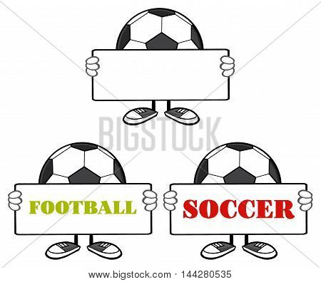 Soccer Ball Faceless Cartoon Mascot Character 1. Collection Set Isolated On White Background