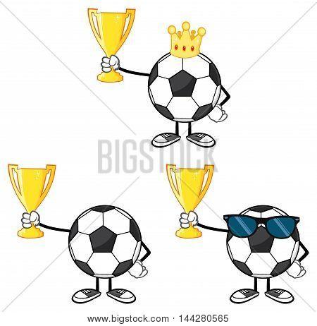 Soccer Ball Faceless Cartoon Mascot Character 4. Collection Set