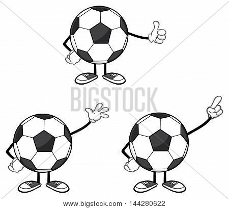 Soccer Ball Faceless Cartoon Mascot Character 5. Collection Set Isolated On White Background