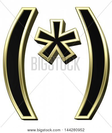 Parenthesis, asterisk from black with shiny gold frame alphabet set, isolated on white. 3D illustration.