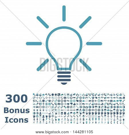 Light Bulb icon with 300 bonus icons. Vector illustration style is flat iconic bicolor symbols, cyan and blue colors, white background.