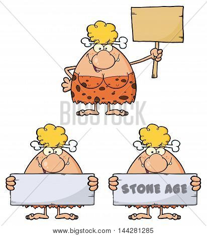 Blonde Cave Woman Cartoon Mascot Character 10. Collection Set Isolated On White Background