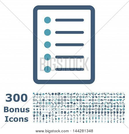 List Page icon with 300 bonus icons. Vector illustration style is flat iconic bicolor symbols, cyan and blue colors, white background.