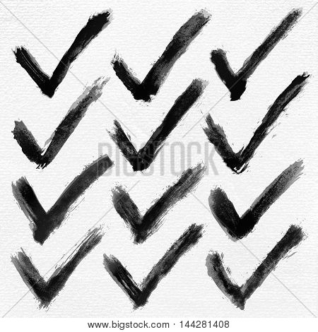 Check mark ink sketch on watercolor paper. Aquarelle abstract textured in handmade technique. Isolated shape on white background. Vector illustration for design in 10 eps